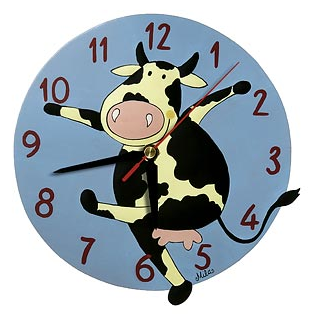clock with dancing cow
