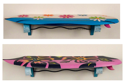 two surfboard wall shelves with flowered patterns - daisy and hibiscus