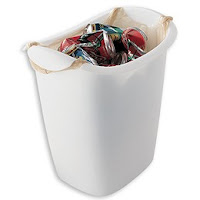 trash can designed to use plastic grocery bags as liners