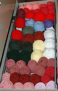 yarn stored in a lateral file cabinet