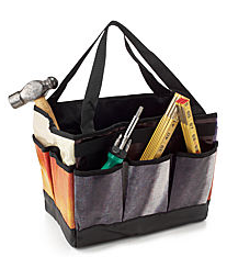 tool bag from recycled billboards