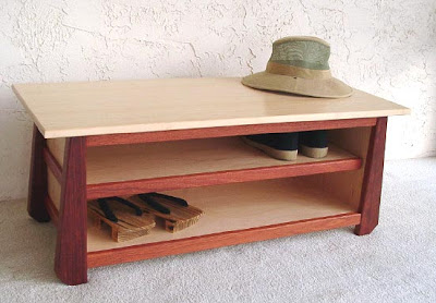 Tansu style shoe storage bench