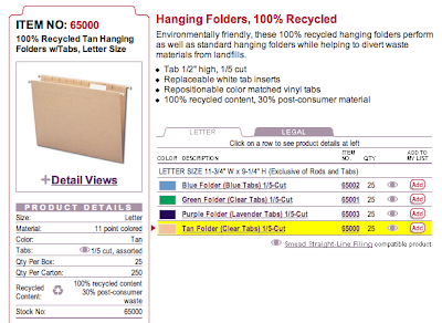 Smead web site product page for recycled hanging file folders