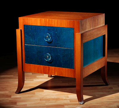 bedside table with blue drawers