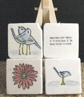 4-magnet set; cherish, two birds, etc.