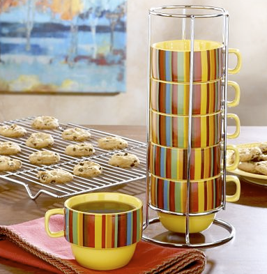 stackable striped mugs