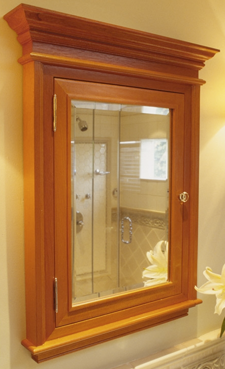 Cherry medicine cabinet with mirror or solid door, recessed or
