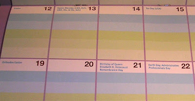 calendar showing a range of holidays: Earth Day, Orthodox Easter, Tax Day in the U.S., etc.
