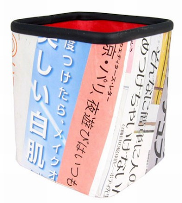 pencil cup made from Japanese newspapers