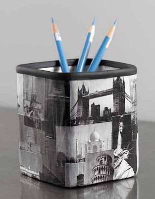 pencil cup with black and white images of iconic travel sights - Taj Mahal, Leaning Tower of Pisa, etc.