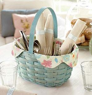 blue basket, holding tableware