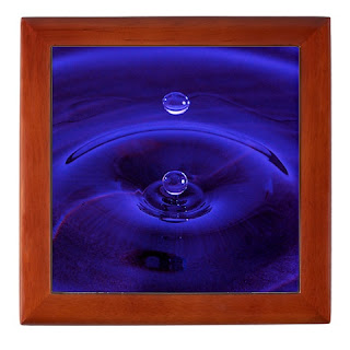 wood box with photo of raindrop, all in blue