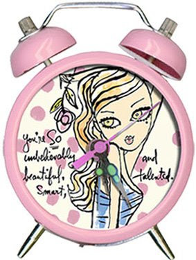 pink alarm clock with picture of girl, and the words You're So Unbelievably beautiful, smart, and talented