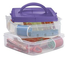2-tier stacking plastic organizer filled with craft supplies