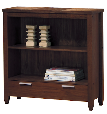 low bookcase, dark wood