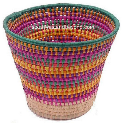 colorful woven wastebasket