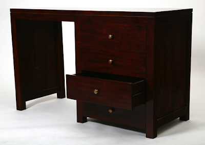 des with drawers, dark wood