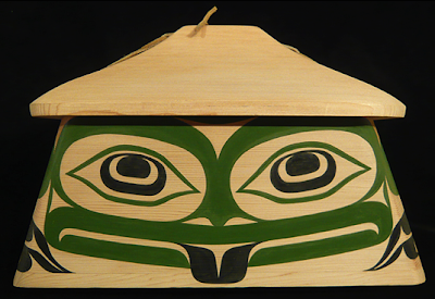 canoe bentwood box, frog image
