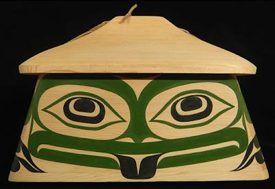 canoe bentwood box, frog image