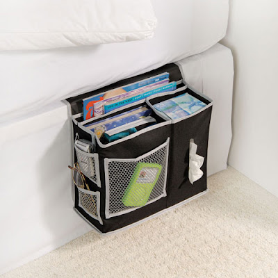 black bedside caddy with Kleenex box, eyeglasses, and more