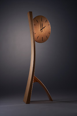 floor clock, cherry wood with ebony