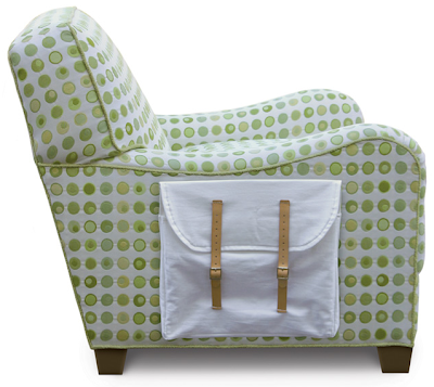 upholstered chair with knapsack