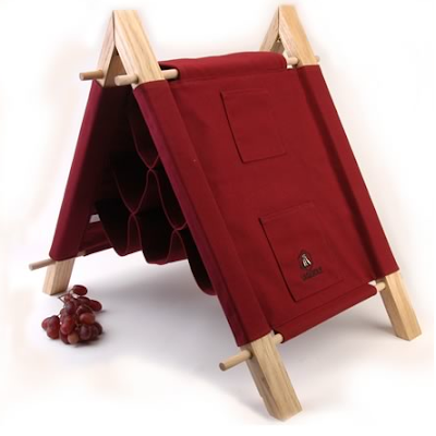 folding wine rack, red canvas (and wood), holds six bottles