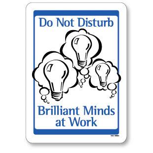 Do Not Disturb - Brilliant Minds at Work sign