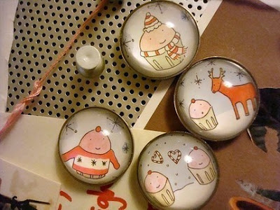four Christmas / winter magnets