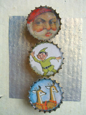 bottlecap Christmas magnets