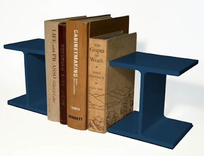 ibeam steel bookends in blue