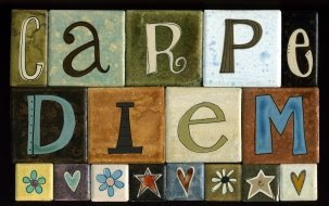 carpe diem hand-painted tile magnets