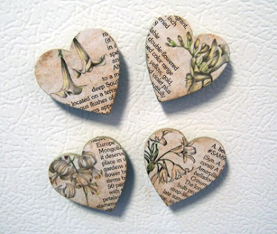 magnets - hearts with flowers