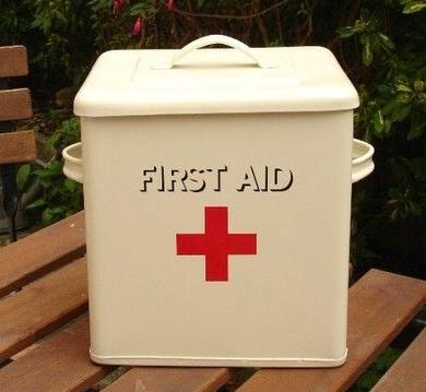 first aid box - enamel