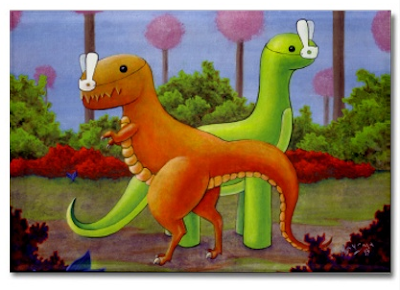 magnet - dinosaurs in bunny masks