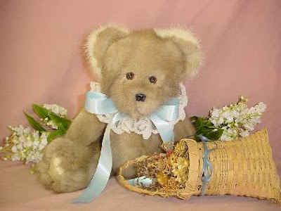 bear made from old fur coat or other fur pieces
