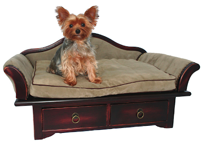 pet sofa with drawers; dog on the sofa