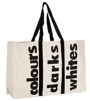 3 section laundry bag - colours, darks, whites
