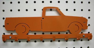 key rack, metal, orange, truck shape