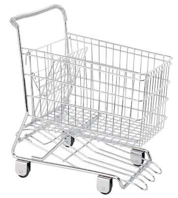 shopping cart (trolley) shaped fruit basket