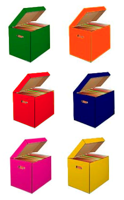 cardboard storage boxes in red, green, blue, yellow, pink, and orange