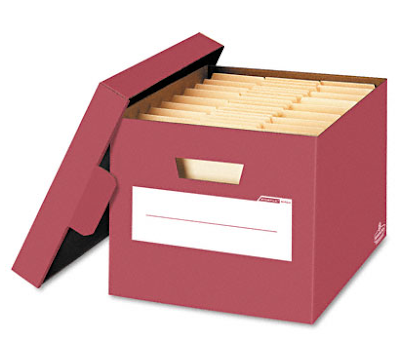 red bankers box