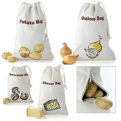 food preserving bags for onion, potatoes, mushrooms, cheese