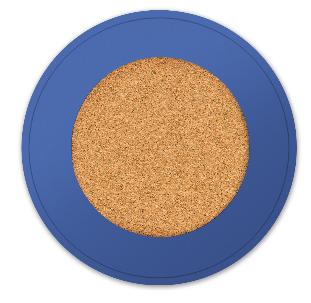 round cork board, blue wood frame