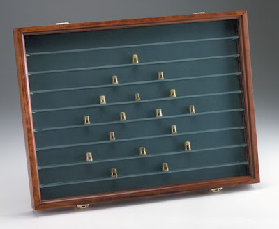 thimble display case, glass shelves