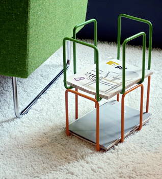 lacquered steel magazine rack