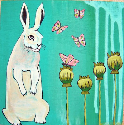 handpainted wood box with picture of bunny