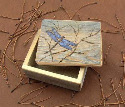 wooden keepsake box with etched dragonfly