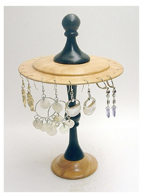 cherry wood rotating earring display