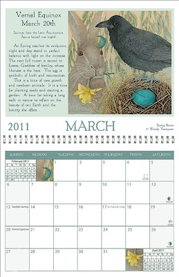 2011 wall calendar - March shows rabbit and raven